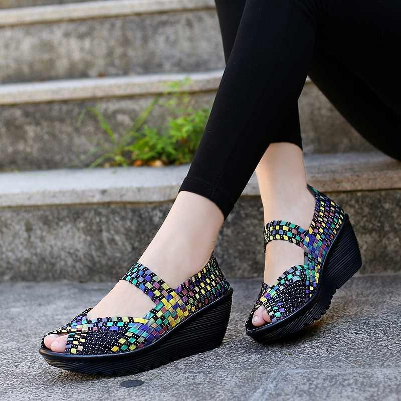 Chunky Zwart Zomer Sneakers Vrouwen Platte Platform Schoenen Peep Toe Vrouw Geweven Elastische Schoenen Wig Dames Schoenen Chaussures Femme
