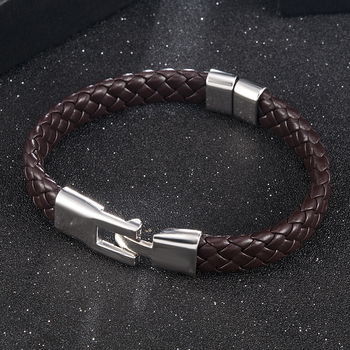 High Quality Men Women Leather Wrap Wristband Cuff Magnetic Clasp Bracelet Stainless Steel Buckle Clasp Bracelets Jewelry 1