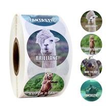 Animals Reward Sticker 100-1000pcs English Encourage Words Labels Sticker for Praise Kids Gift 1 inch Motivational Stickers