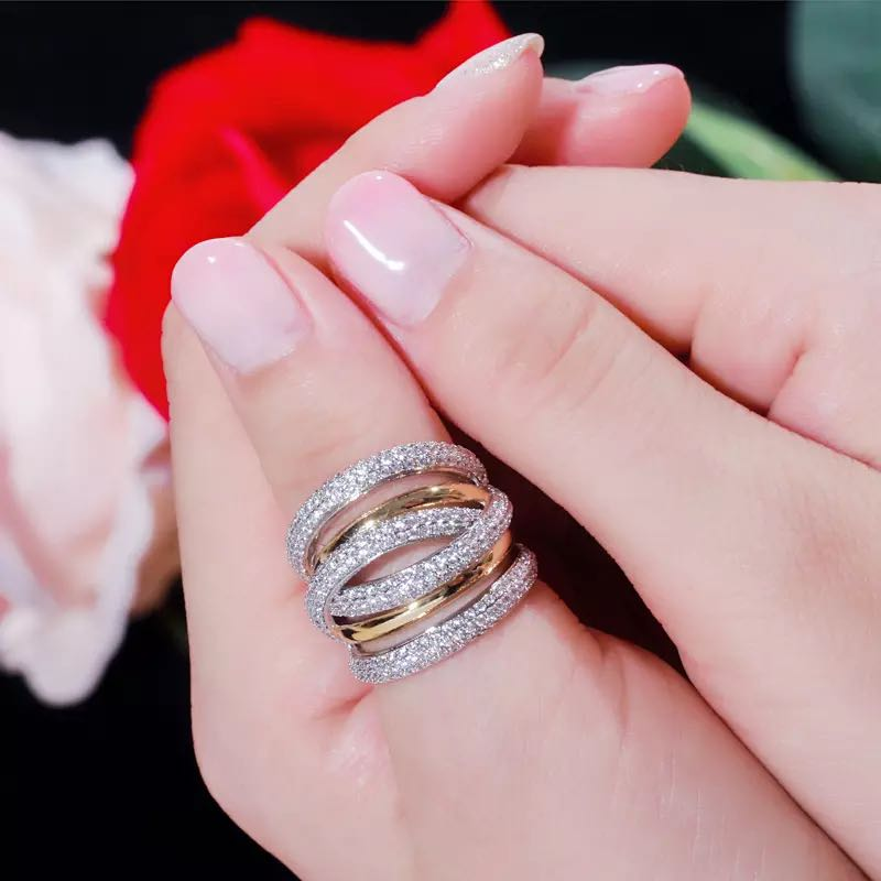 Bride Talk Luxury Women Ring AAA Cubic Zirconia Shiny Crystal Multi-Layered Design Fashion Jewelry For Wedding Party Dating Gift 3