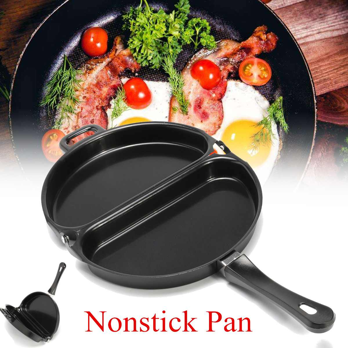 Double Side Non Stick Coated Omelet Pan Folding Pan Kitchen Breakfast Skillet Frying Pan Skillet Omelette Maker Cooking Tool
