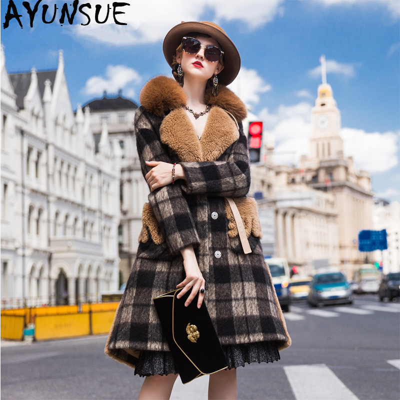 AYUNSUE Real Sheep Shearling Fur Coat Female Fox Fur Collar Wool Coats Winter Jacket Women Woolen Down Jackets Chaqueta Mujer MY