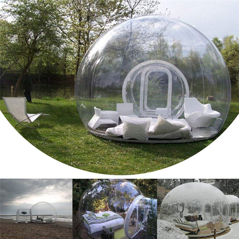 Clear Outdoor Single Tunnel Inflatable Bubble Tent DIY House Home Family Camping Backyard Transparent Tent Blower Garden Tent