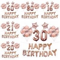 37 шт. 16 18 20 30 40 50 60 70 лет воздушный шар 40 дюймов розовое золото номер воздушный шар День Рождения украшения Audlt Globos поставщики