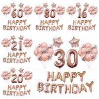 37 pièces 16 18 20 30 40 50 60 70 ans ballon 40 pouces or Rose numéro ballon fête d'anniversaire décoration Audlt Globos fournisseurs