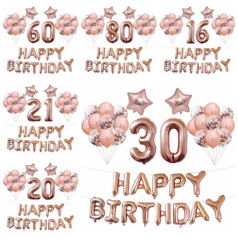 37pcs 16 18 20 <font><b>30</b></font> <font><b>40</b></font> <font><b>50</b></font> <font><b>60</b></font> <font><b>70</b></font> Years Old Balloon 40inch Rose Gold Number Balloon Birthday Party Decoration Audlt Globos Suppliers image