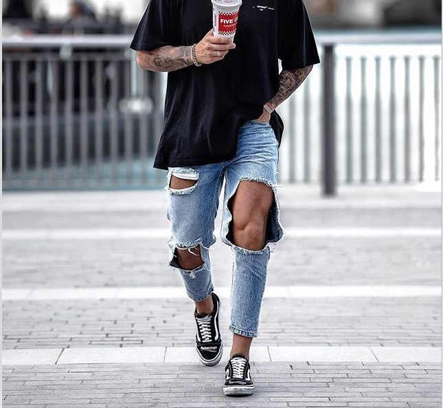 Pantalon Jean Hombres Denim Jeans Hombre Hombres Pantalones Vaqueros Pantalones De Nuevo Gran Agujero Erkek Kot Pantolon Pantalones De Moda Jean Hombres Nuevos Masculina Pantalones Vaqueros Aliexpress