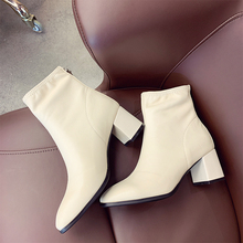 White Boots Women Fashion Ankle Boots Ladies Soft Leather Boots Women Sexy High Heels Boots Black Women Boots Winter 2019 New winter boots women 2018 new fashion ladies shoes sexy ankle boots for women beige black scarpe donna 8cm