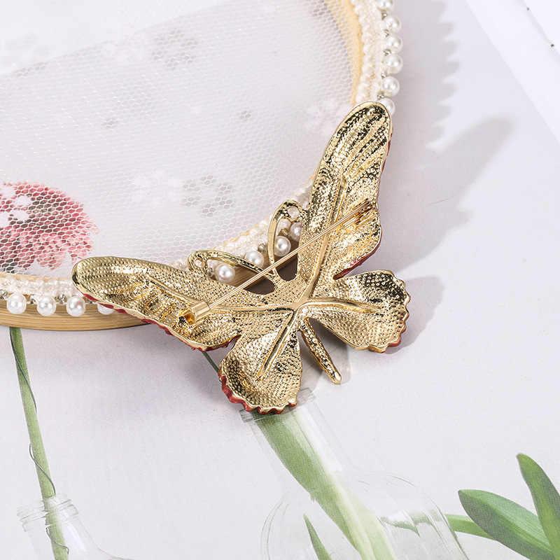 WEIMANJINGDIAN fabrika doğrudan satış kristal Rhinestones kelebek broş Pins moda kostüm takı kadınlar veya kızlar için