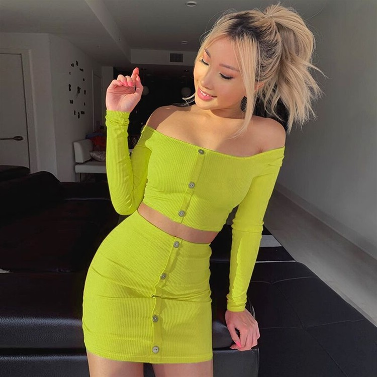 2020 Sexy Fashion Off Shoulder Two Piece Set Solid Button Bodycon 2 Piece Set Women Long Sleeve Top And Skirt Summer Autumn Sets
