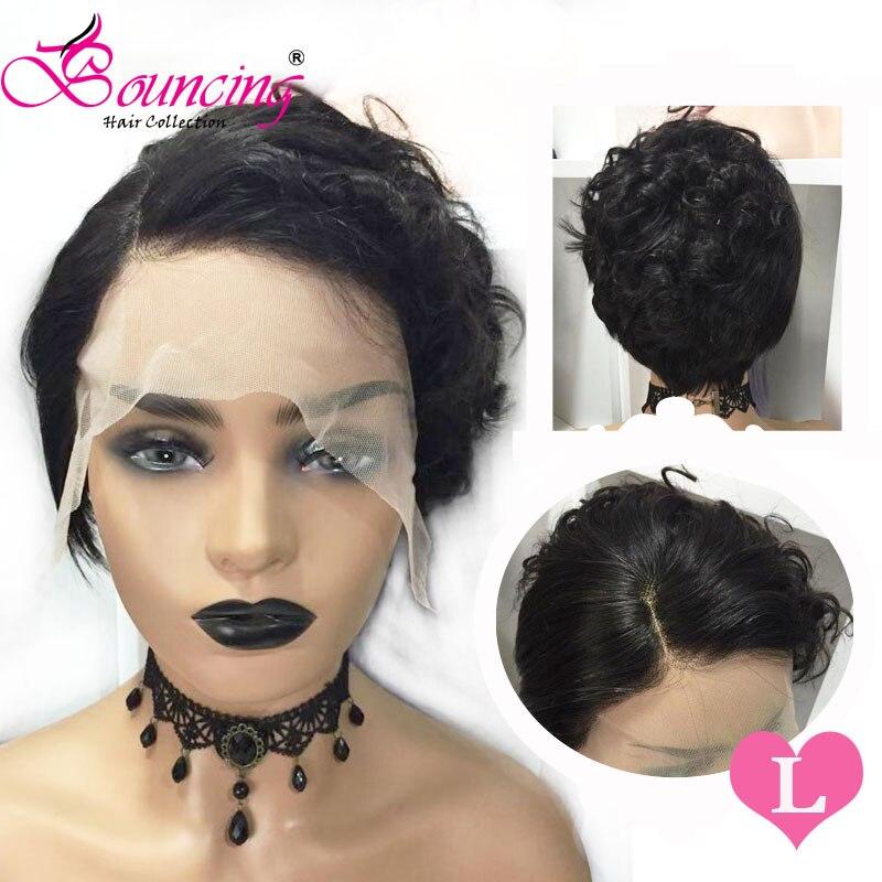 Springenden remy Haar Spitze Front Menschenhaar Perücken Natürliche Farbe Kurze Pixie Cut Perücke 150% 13x4 perücke Seite teil Für Frauen Niedrigen Verhältnis - 2