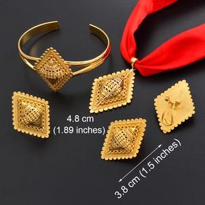 Image 3 - Anniyo DIY Rope Ethiopian Jewelry set Pendant Necklaces Earrings Bangle Ring Gold Color Eritrea Habesha Jewellery Sets #218406