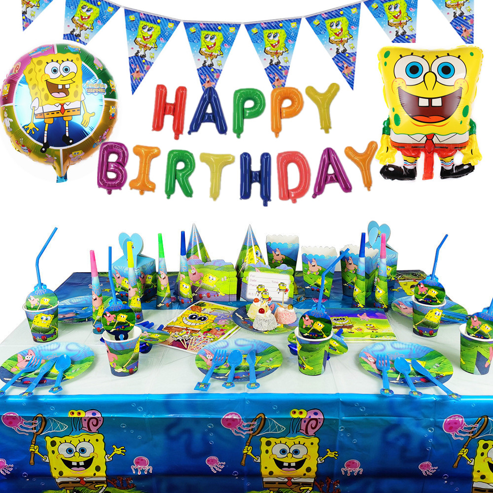 SpongeBob Birthday Party Decoration Tablecloth Paper Plates Cups Banner Balloon Boy Baby Shower Party Supplies Kids Favorite
