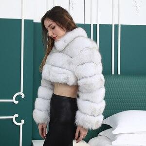 Image 4 - Natuurlijke Korte Echte Jas Voor Vrouwen Met Stand Kraag Dikke Warme Winter Echte Fox Fur Jacket Hoge Kwaliteit bont Overjassen