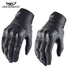 BERIK-guantes Retro para motocicleta para hombre, negros, perforados, transpirables, de piel de oveja, todoterreno, XXL
