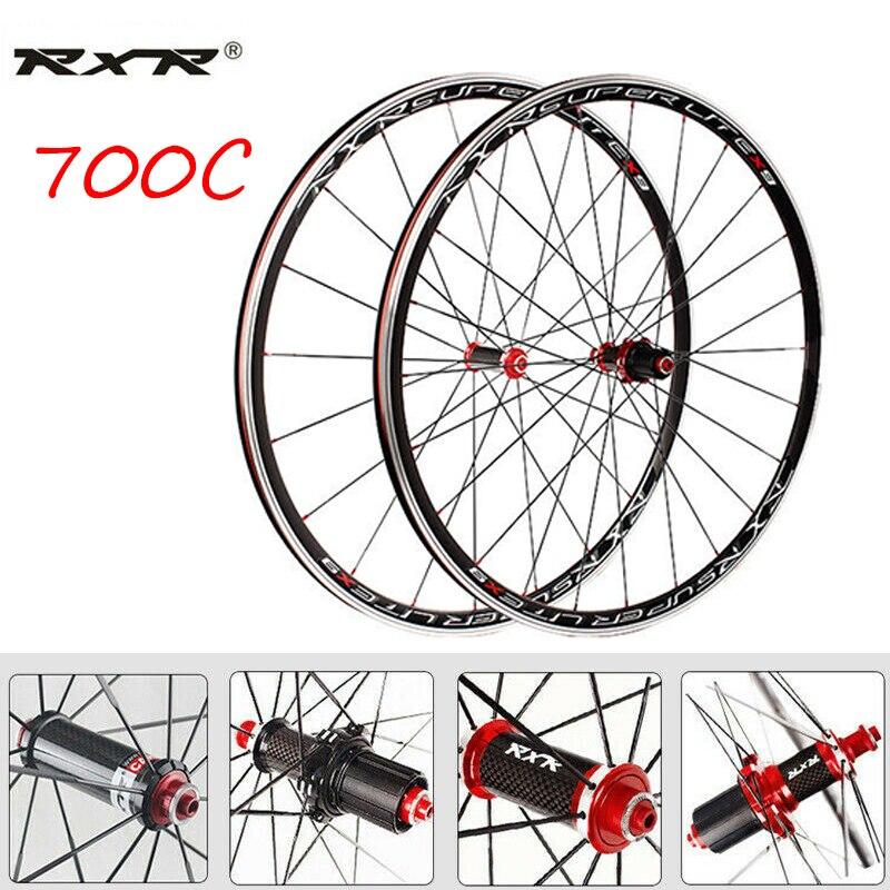 RXR 7/8/9/10/11 Speed Bike Wheelset X9 Carbon Hub Bicycle Wheels Wheelset Clincher V Brake Wheelset Rim QR 100/130mm
