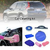 Car Wash Cleaning Tools Set Gloves Towels Applicator Pads Sponge Car Care Kit Wheel Brush Car Cleaning Kit 7Pcs/set
