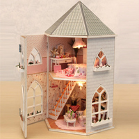 New 3D blockhouse Wooden Doll House Villa Furniture DIY Miniature Model LED Light Dollhouse Christmas Gifts not include glue