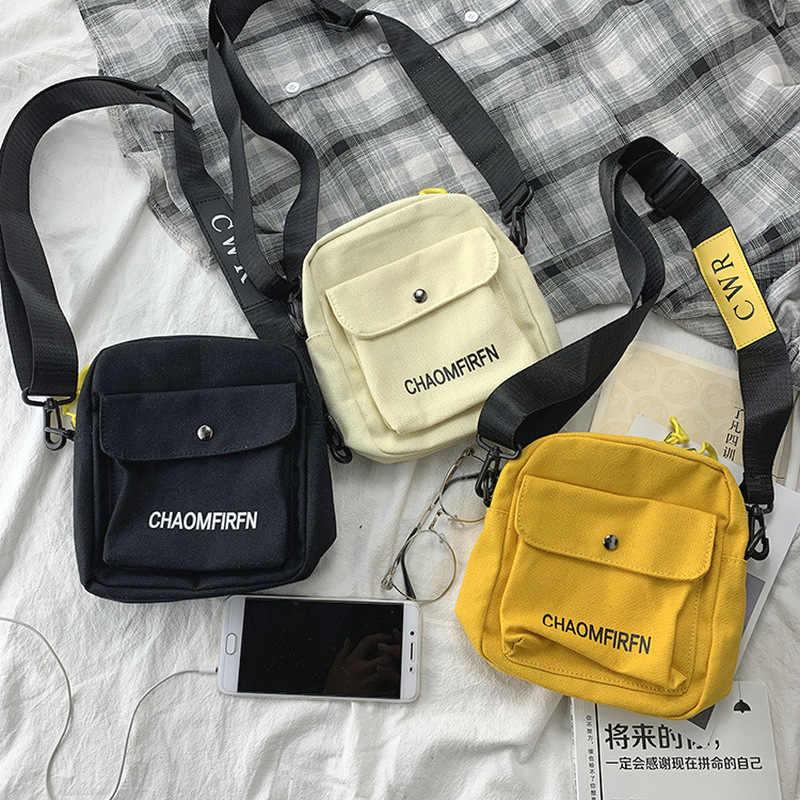 حقيبة كتف نسائية صغيرة من القماش كورية هاراجوكو حقائب كروس صغيرة غير رسمية للنساء 2020 محفظة يد نسائية
