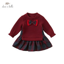 Db14471 dave bella outono da menina do bebê bonito arco xadrez retalhos vestido crianças moda vestido de festa infantil lolita roupas