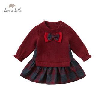 DB14471 dave bella autumn baby girl's cute bow plaid patchwork dress children fashion party dress kids infant lolita clothes image