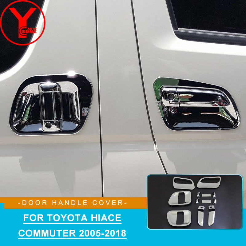 YCSUNZ abs chrome side door handle protector parts accessories for Toyota Hiace Commuter 2005 2008 2009 2010 2012 2014 2016 2018