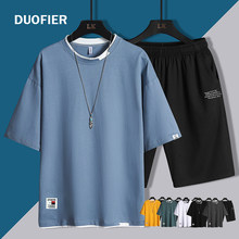 2 peça conjunto de roupas de verão dos homens de manga curta conjunto de roupas de moda de verão