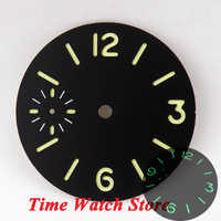 Parnis 34.5mm black sandwich dial green marks luminous fit eta 6497 movement mes Watch watch dial D09A