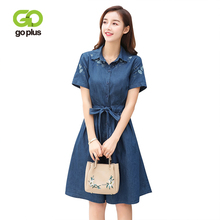 GOPLUS 2019 Spring Floral Embroidery Boho Denim Dress Women Clothing Sashes Short Sleeve Party Dresses Plus Size Casual Vestidos