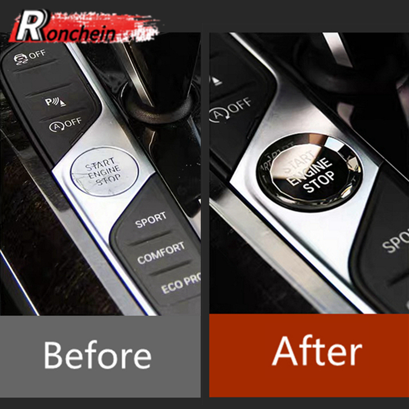 RONCHEIN Car Start Stop Button Replacement Trim for BMW New 3 Series G20 G21 X5 G05 X7 G07 8 Series G14 G16 Crystal Interior