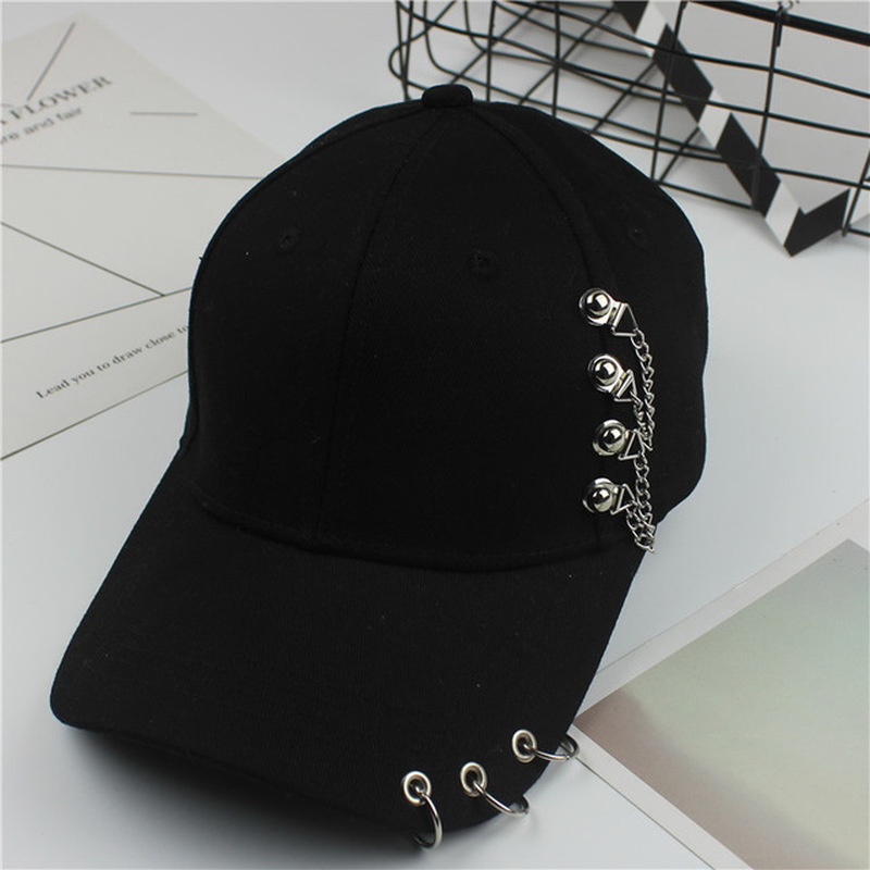 Creative Piercing Ring Baseball Cap Punk Hip Hop Caps Cotton Adult Casual Solid Adjustable Unisex Caps Snapback 2020 NEW ARRIVAL