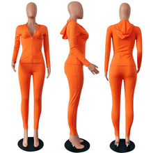 Women Neon Color Tracksuit Clothing 2 Piece Sets