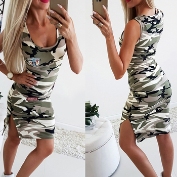 Summer Women's Camouflage Dress O Neck Sleeveless Dresses For Sexy Women Casual female Mini Sport Dress Side split vestido rolled cuff pockets side split curved dress