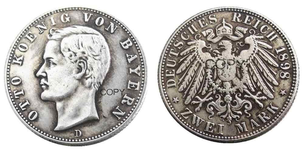גרמניה בוואריה 2 סימן 1898 כסף מצופה עותק מטבעות