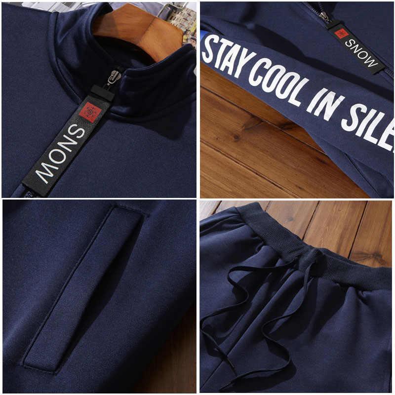 Varsanol ใหม่ผู้ชายชุดแฟชั่นฤดูใบไม้ร่วงฤดูใบไม้ผลิชุดกีฬาเสื้อ + Sweatpants Mens เสื้อผ้า 2 ชิ้นชุดบาง Hots