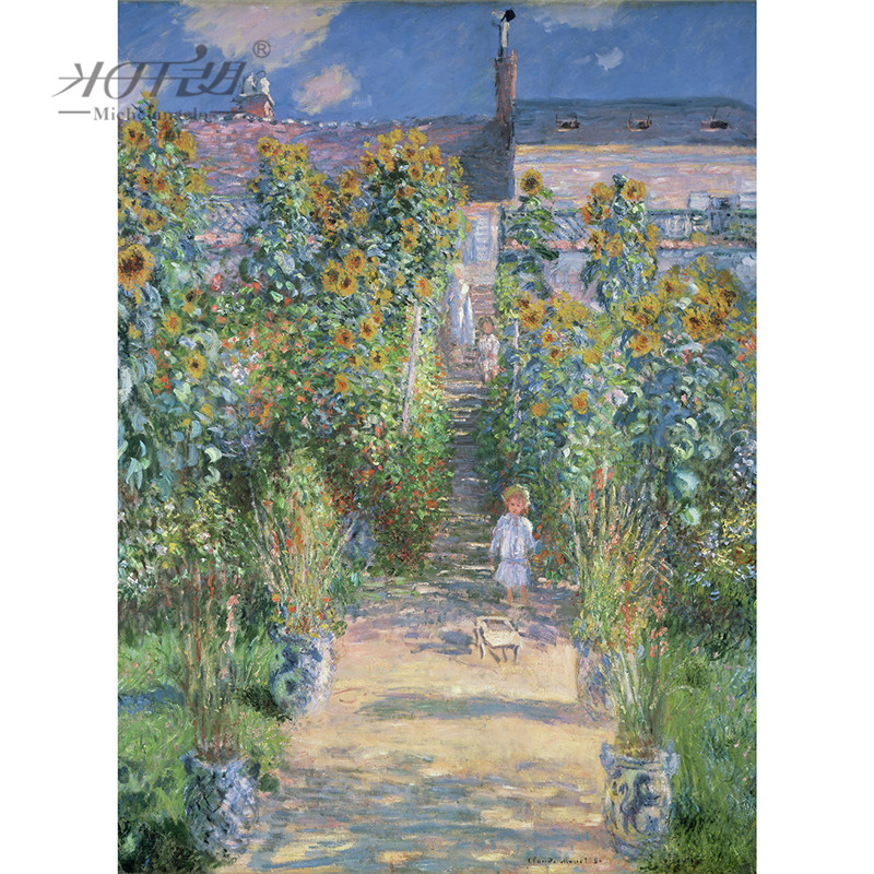 Michelangelo Wooden <font><b>Jigsaw</b></font> <font><b>Puzzle</b></font> 500 1000 <font><b>1500</b></font> 2000 <font><b>Piece</b></font> Claude Monet Artist's Garden at Vetheuil Painting Kid Educational Toy image
