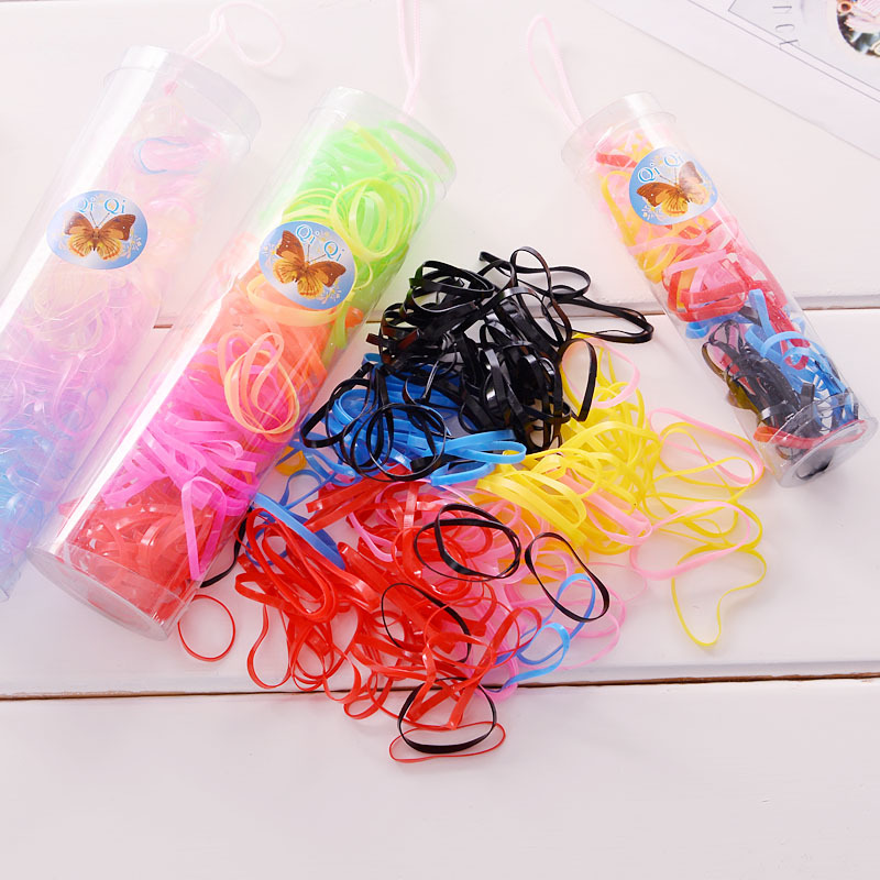 60pcs/lot Baby Girl Disposable Elastics Rubber Hair Bands Children Ponytail Holder Kids High Elasticity Colorful Ring Headwear