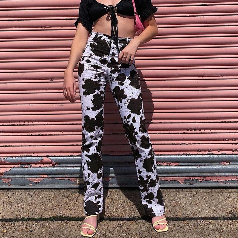 Animal Milk Cow Print Long Trousers Ladies Casual Skinny Straight Pants Capris High Waisted Sweatpants Streetwear