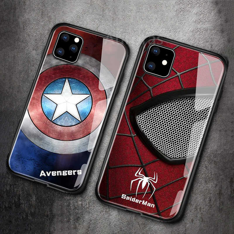 Auroras Voor iPhone 11 Case Marvel Captain America Iron Man Glas Avengers Spiderman Cover Voor iPhone 11 Pro Max Zwart panther