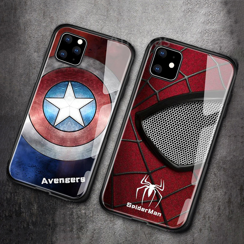 Marvel Captain America Iron Man Glass Avengers Spiderman Cover For Iphone 11 Pro Max