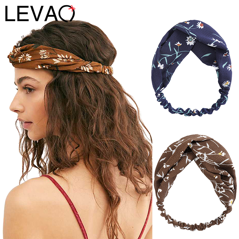 LEVAO Satin Flower Print Headband Turban Hairband Female Bezel Women Lady Hair Accessories Headwear Elegant Headdress Fashion