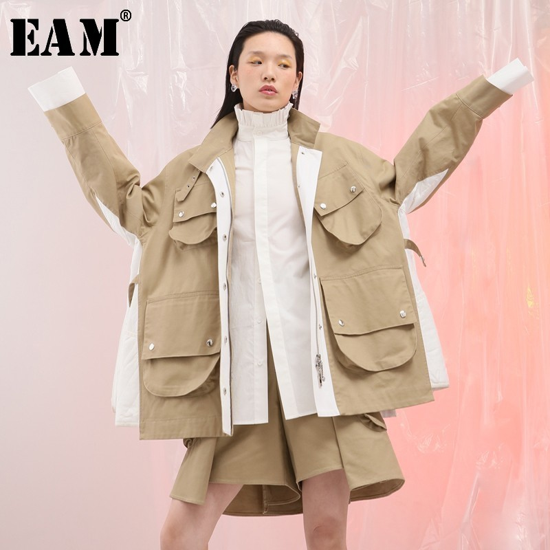 [EAM] 2020 New Spring Lapel Long Sleeve Side White Split Joint Big Pocket Loose Big Size Jacket Women Coat Fashion Tide JG801
