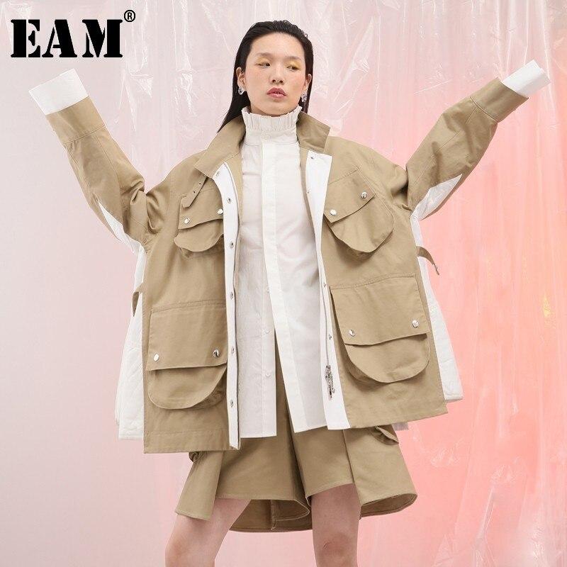 [EAM] 2020 New Spring Lapel Long Sleeve Side White Split Joint Big Pocket Loose Big Size Jacket Women Coat Fashion Tide JG801