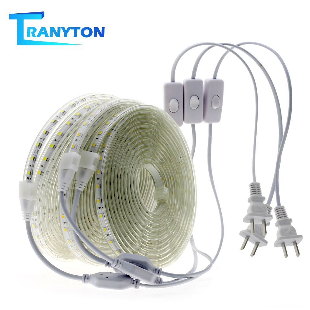 LED Strip 5050 AC110V High Brightness Waterproof Flexible LED Strip Lights 1M Wire With US Plug Safety Outdoor Diode Light Tape