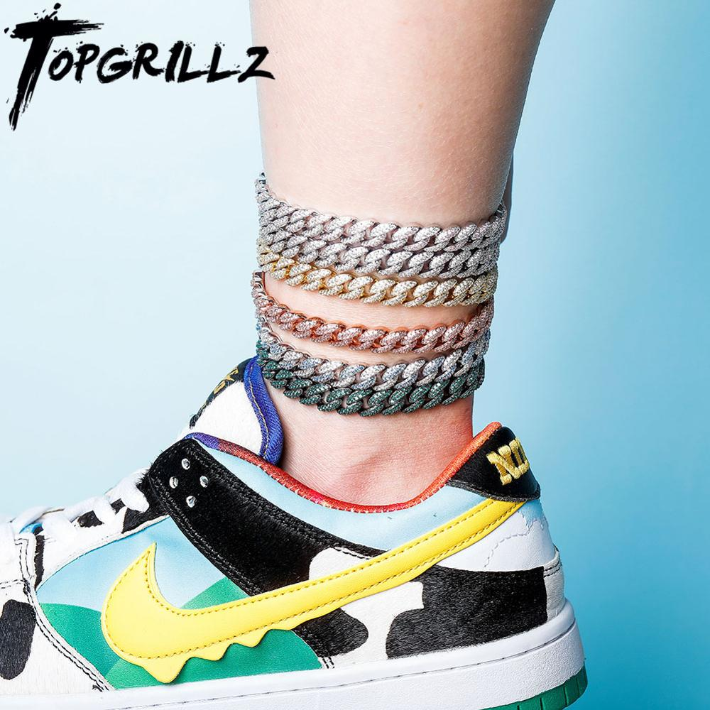 TOPGRILLZ 4mm Cuban Chain Anklet Iced Cubic Zirconia Anklet Choker With 2 Inch Adjustable Chain Hip Hop Charm Jewelry For Gift