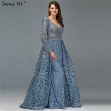 Дубай синие Роскошные вечерние платья с длинным рукавом v-образным вырезом ручной работы Цветы Кристалл Сексуальные вечерние платья размера плюс LA70159