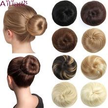 AILIADE, женские накладные волосы, пучок для наращивания, на клипсах, синтетические волосы, хвост, Пончик, шнурок, прямые шиньон, хвост