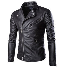 PU Mens Jacket Zipper Lapel Neck Leather Biker Solid Color Casual Clothing New Arrival