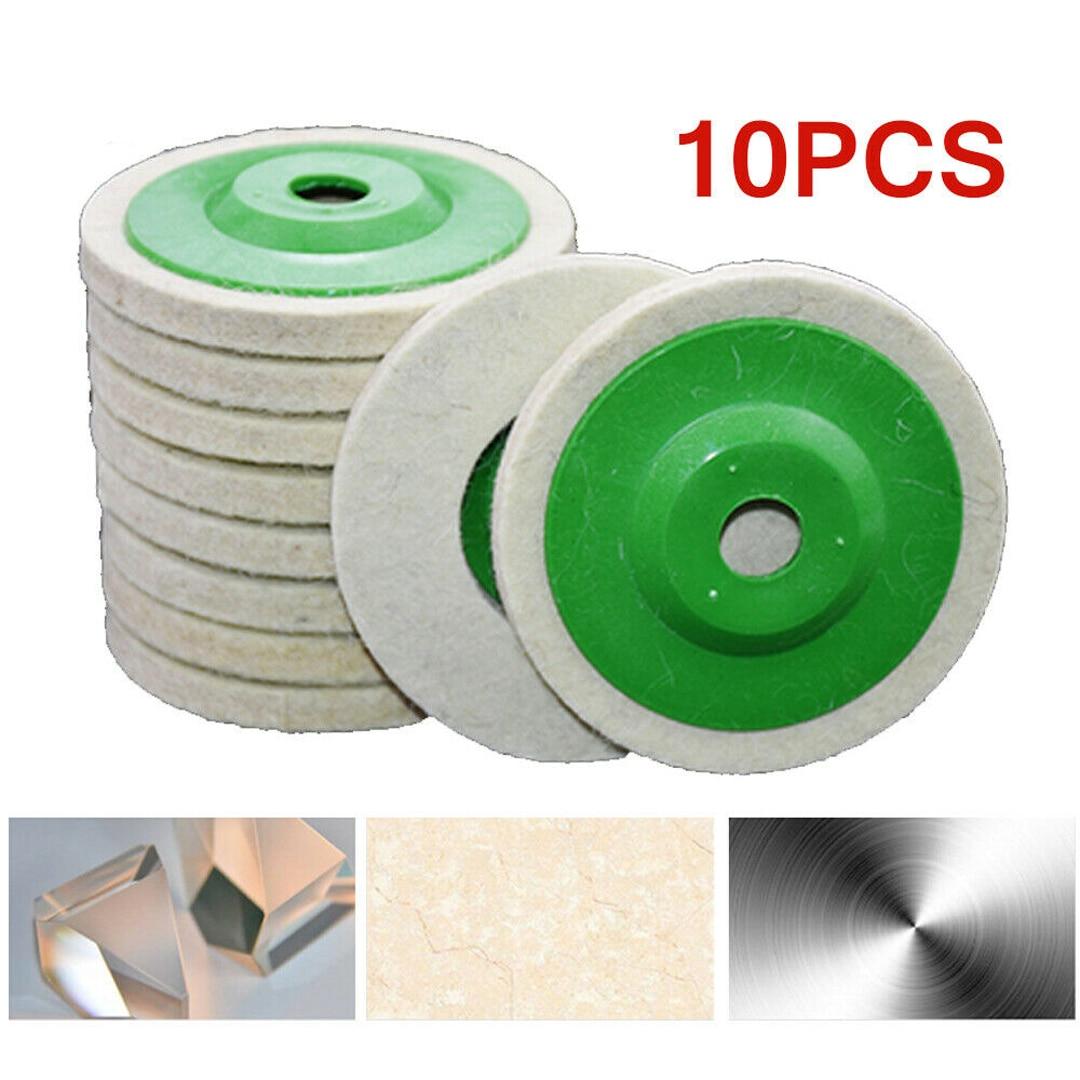 10pcs/set Round Durable Wool Grinding Pad 100mm Polishing Poly Strip Disc Paint Wheel Felt Buffer Disc Grinding Buffing Tool