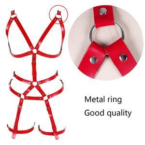 Image 5 - หนังสีแดงชุดสายรัด Bra เข็มขัด Gothic Punk เทศกาล RAVE ปรับชุดชั้นในเซ็กซี่ Body CAGE Garter เข็มขัดถุงน่องถุงน่อง
